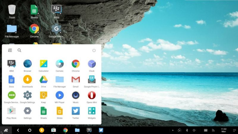 taskbar start button remix os jide